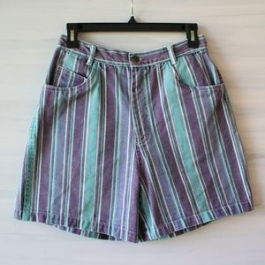 Vintage High Rise Striped Denim Shorts